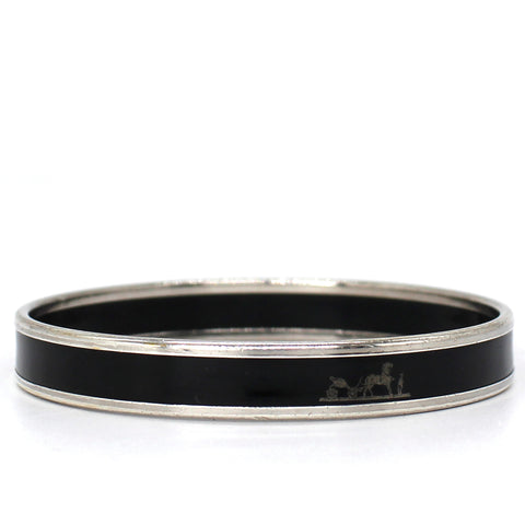 Black Enamel Narrow Caleche Bangle
