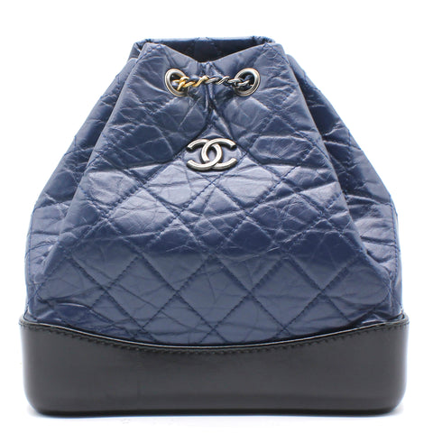 Chanel Aged Calfskin Quilted Gabrielle Backpack Blue and Black