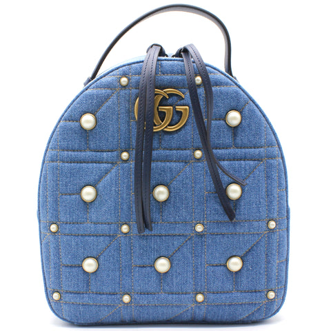 Denim Matelasse Pearl Studded GG Marmont Backpack Blue