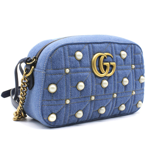 Gucci Denim Matelasse Pearl Studded Small GG Marmont Chain Shoulder Bag Blue