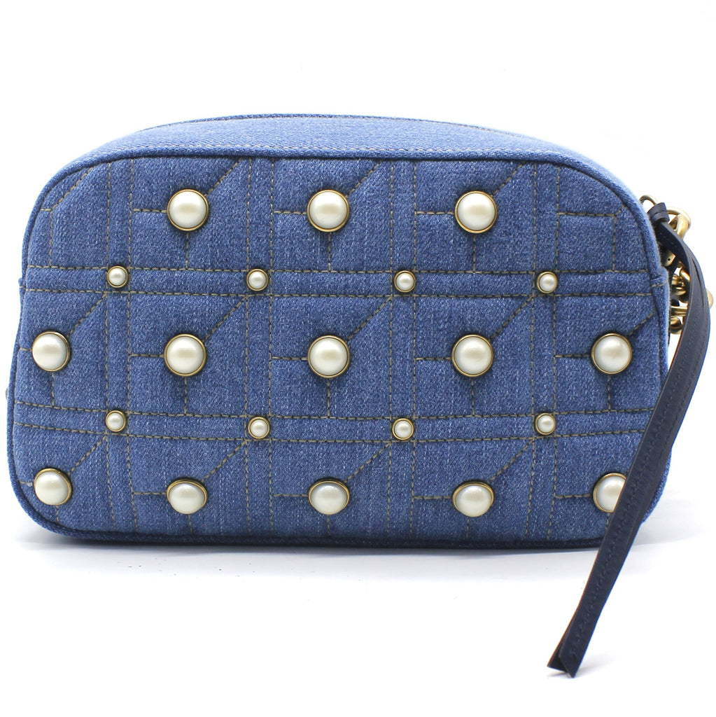 Denim Matelasse Pearl Studded Small GG Marmont Chain Shoulder Bag Blue