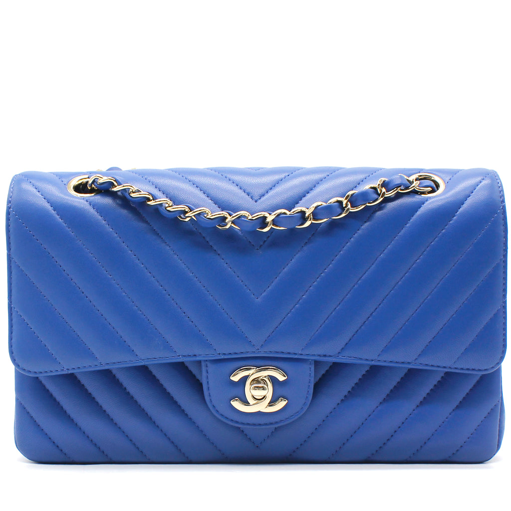 Lambskin Chevron Quilted Medium Double Flap Blue
