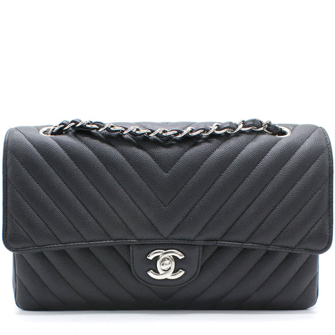 Caviar Chevron Quilted Medium Double Flap Caviar Black