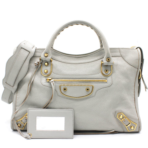 Giant 12 City Leather Tote Grey/Gold