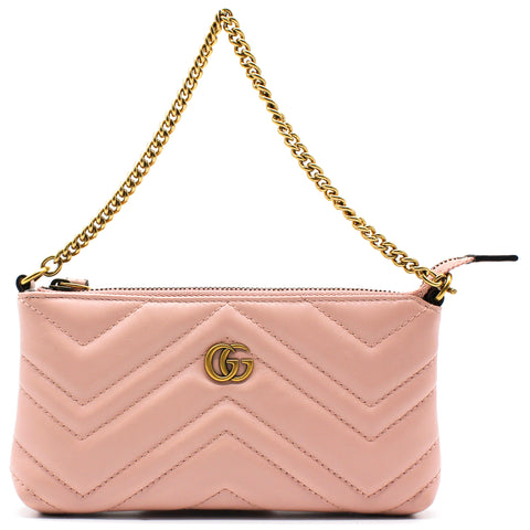 Gucci Calfskin Matelasse Mini GG Marmont Chain Bag Light Pink