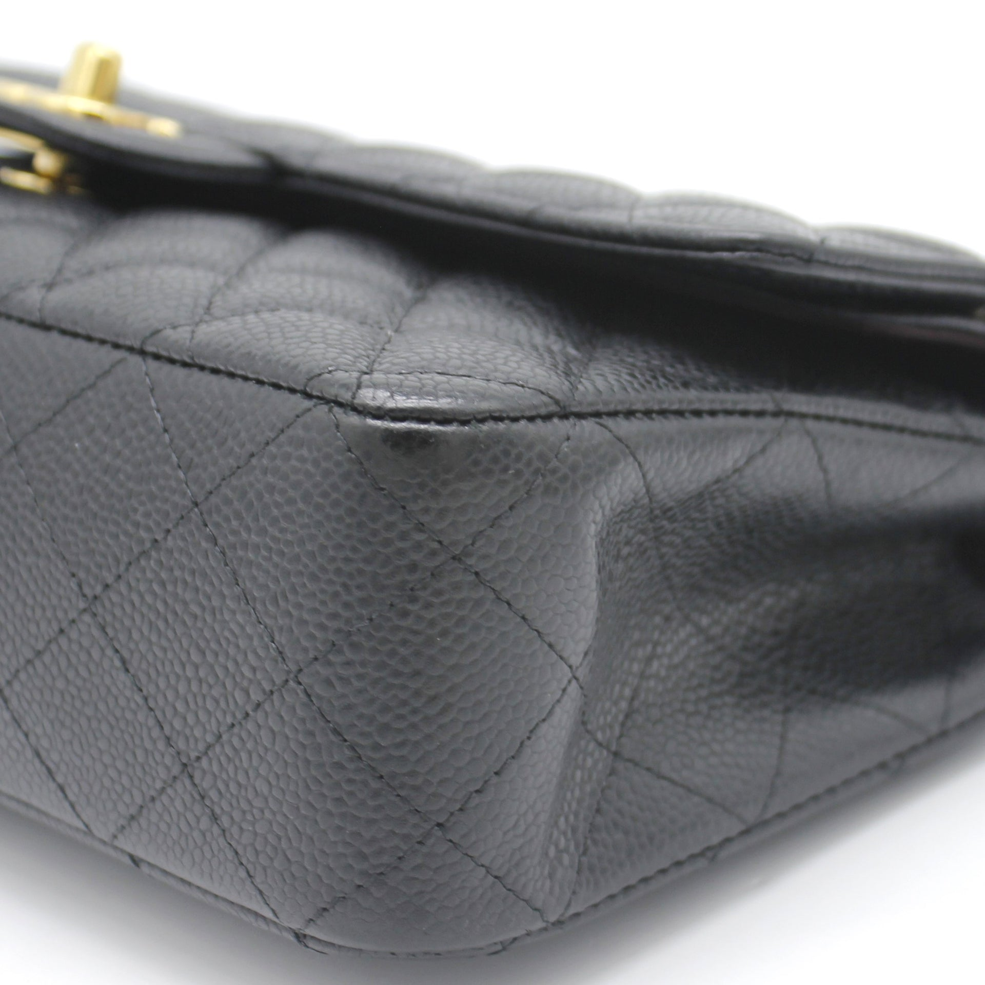 Black Quilted Caviar Leather Classic Double Flap Bag