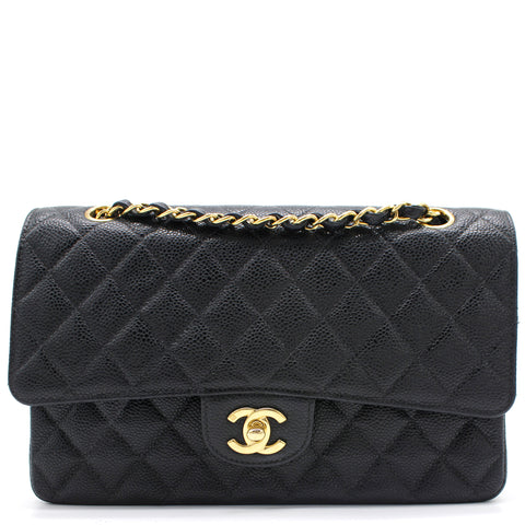 Vintage Black Quilted Caviar Leather Classic Double Flap Bag