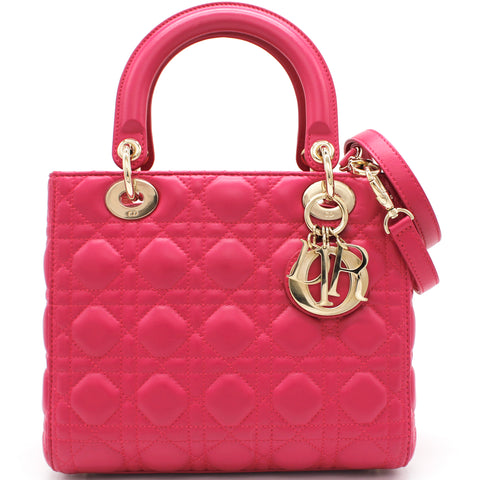Christian Dior Medium Lady Dior in Fushia Lambskin Leather
