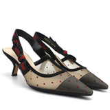 J'ADIOR Slingback in Nude and Red Dotted Swiss and Rhinestone