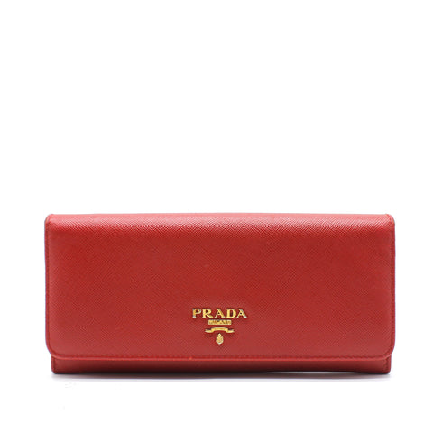Saffiano Metal Oro Chain Wallet Red