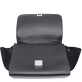 Textured Calfskin and Suede Medium Trapeze Luggage Black