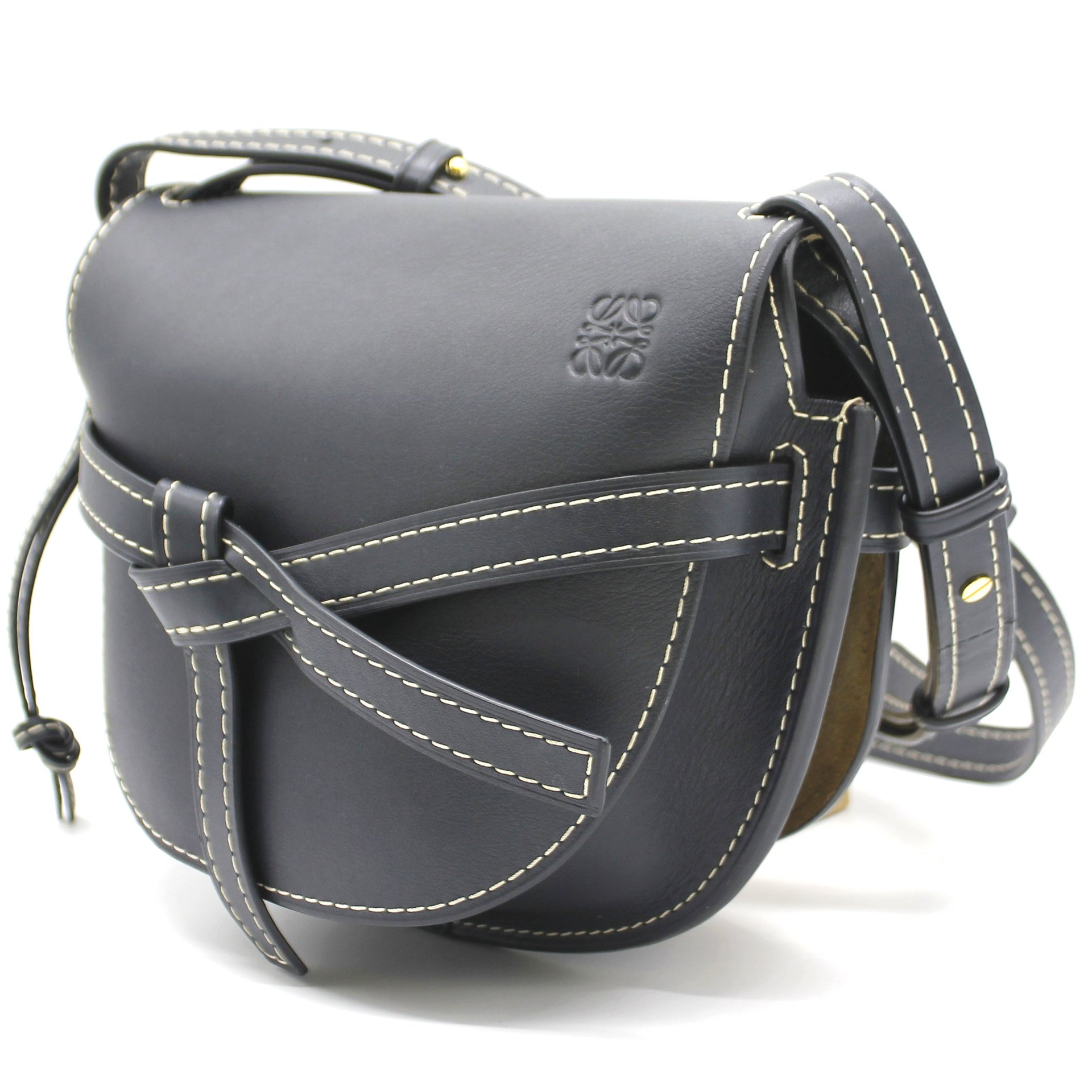 Loewe Grained Calfskin Small Gate Crossbody Bag Navy'