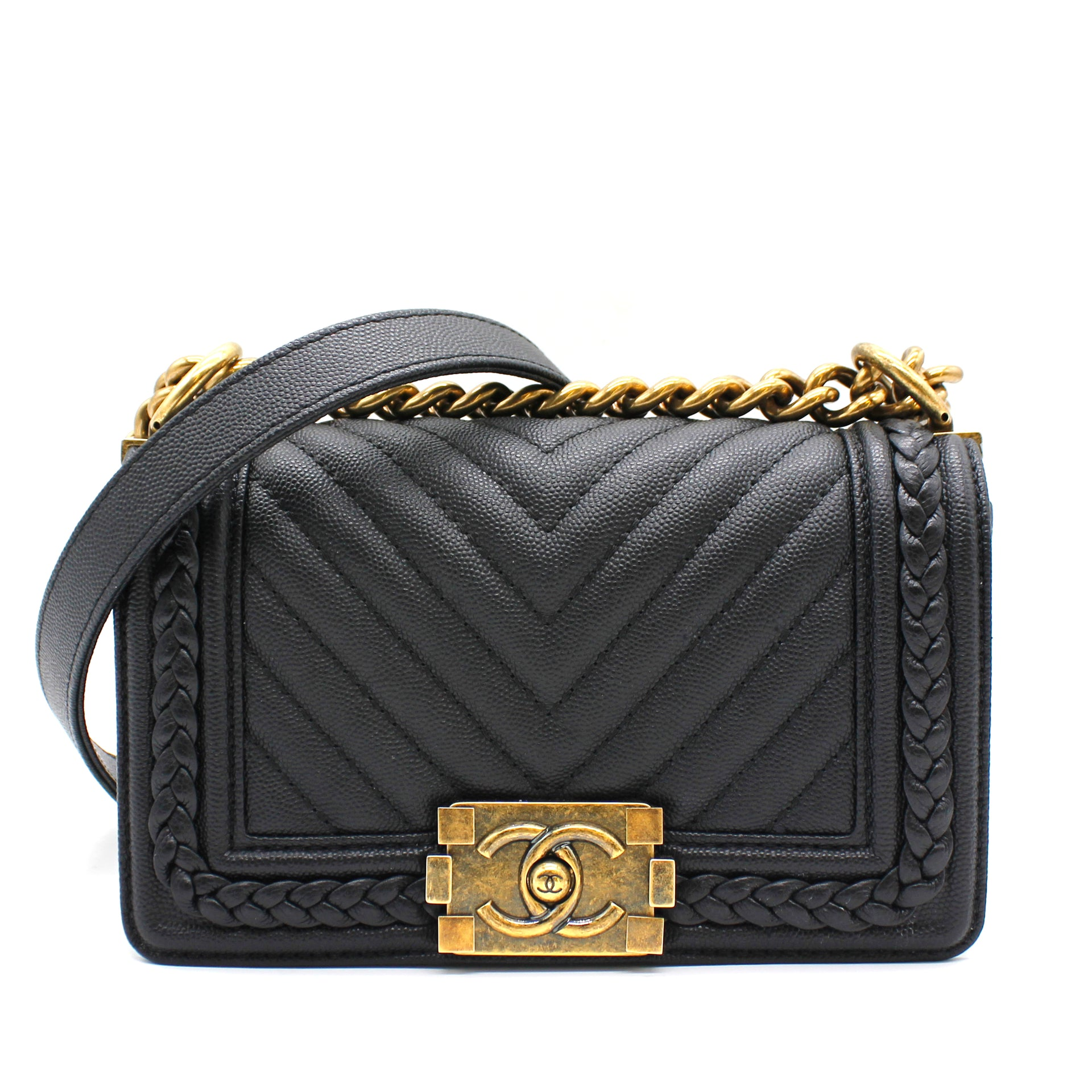 Chanel Caviar Chevron Quilted Small Braid Around Boy Flap