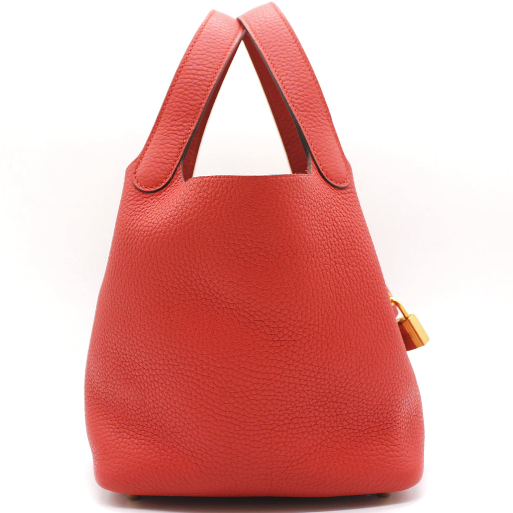 "Hermes ""Picotin Lock"" Bag in Red Clemence Leather"