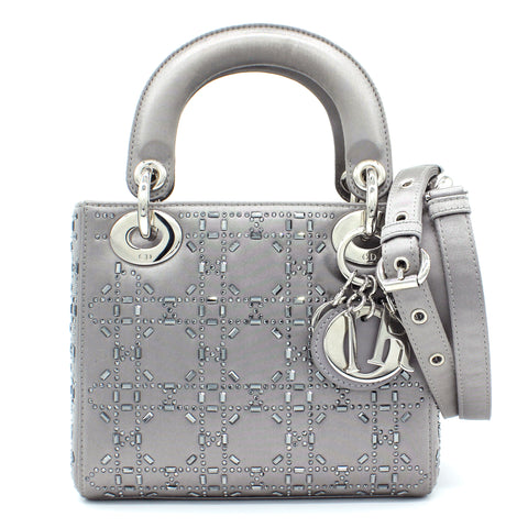 Christian Dior Satin Crystal Cannage Mini Lady Dior Grey