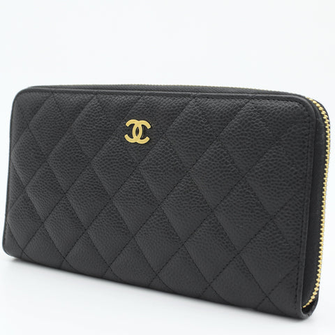 Caviar Quilted Large Gusset Zip Around Wallet