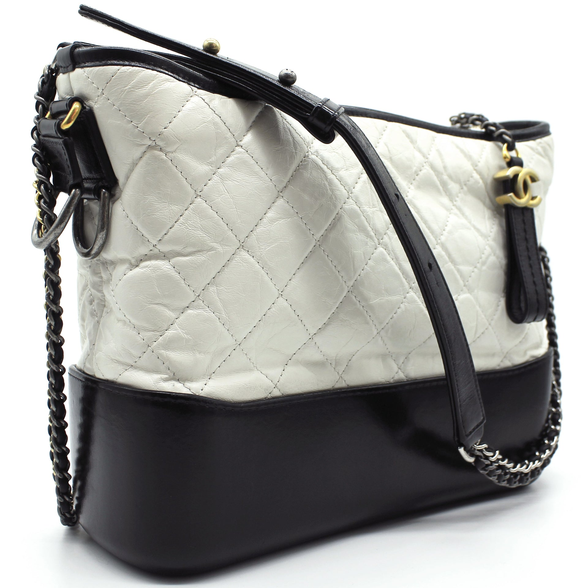 Chanel Calfskin Quilted Medium Gabrielle Hobo Black White