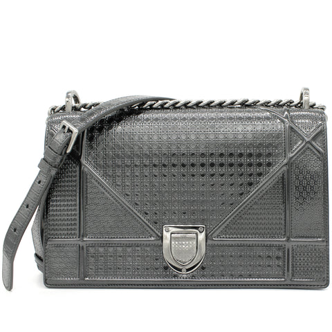 Metallic Calfskin Micro-Cannage Small Diorama Flap Bag Silver
