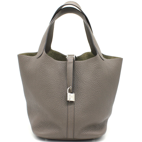 "Picotin Lock"" Bag in Etain Clemence Leather"