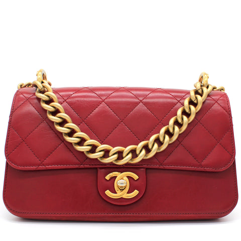 Calfskin Quilted Small Straight Lined Flap Red