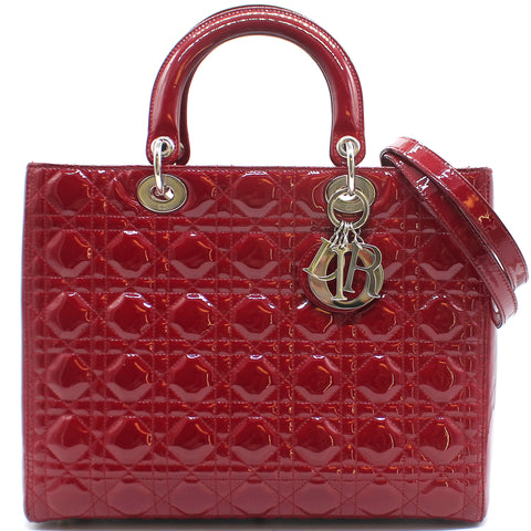 Large Lady Dior in Red Patent Leather