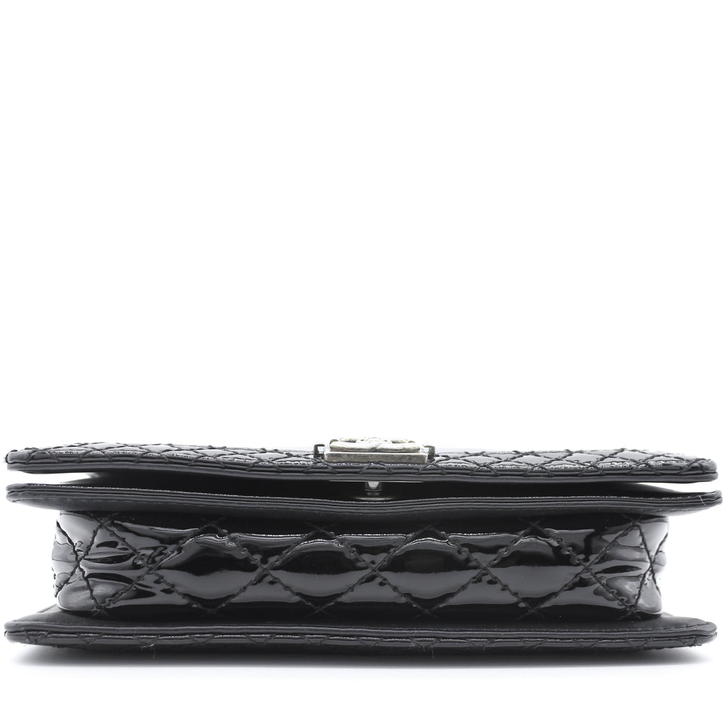 Patent Calfskin Quilted Boy Wallet On Chain WOC Black