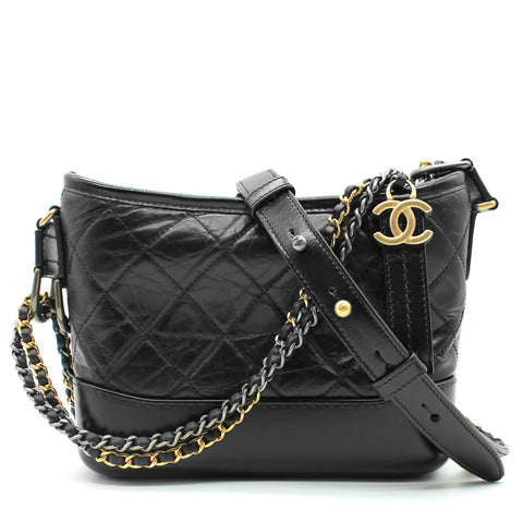 Calfskin Quilted Small Gabrielle Hobo Black