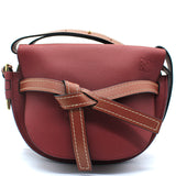 Grained Calfskin Small Gate Crossbody Bag Brown