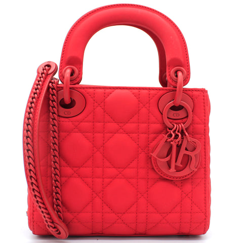 Lady Dior Mini Ultra-matte Bag Red