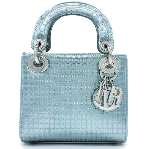 Metallic Calfskin Micro-Cannage Mini Lady Dior
