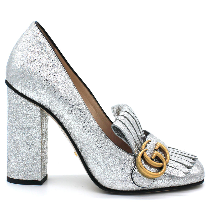 Metallic Calfskin GG Marmont Pumps