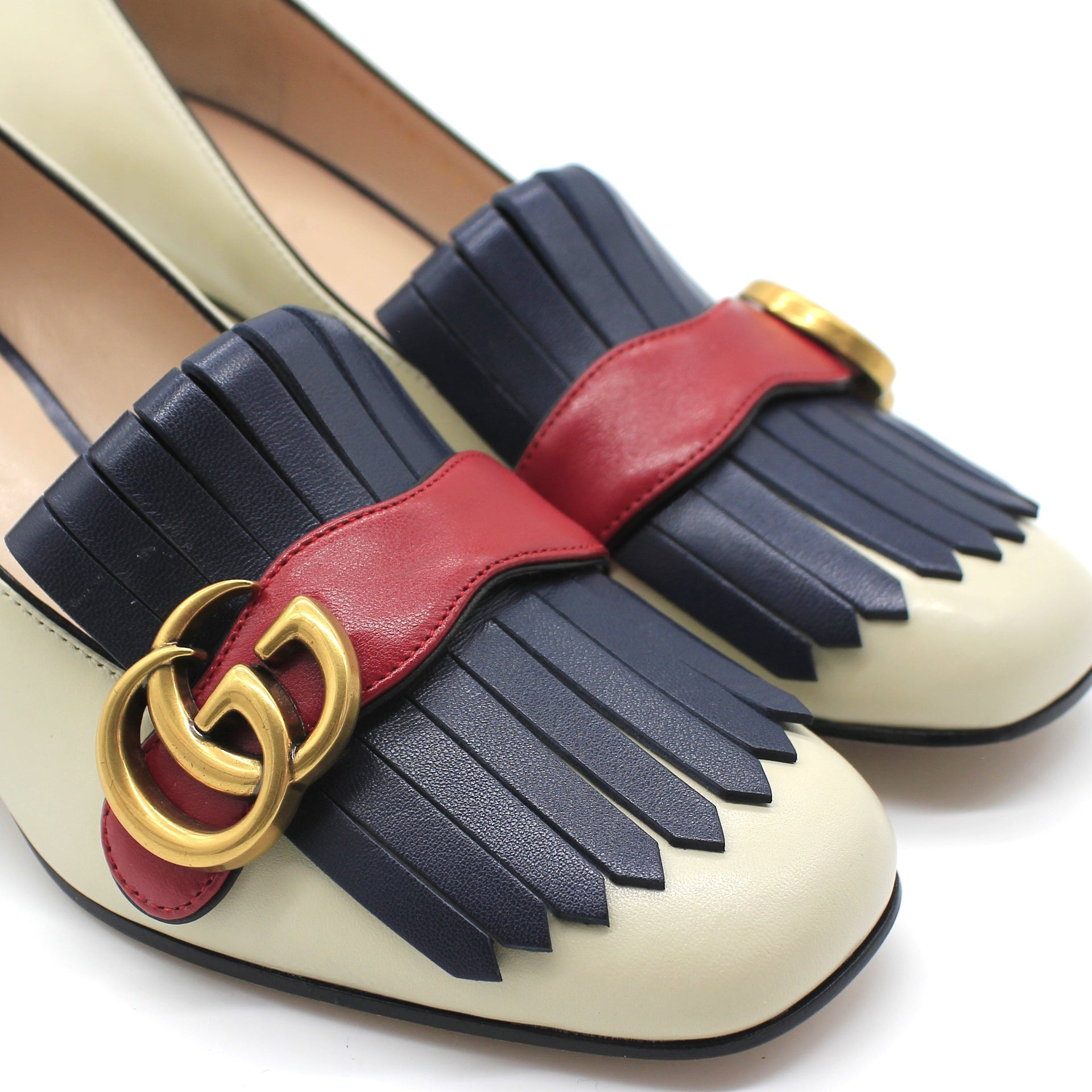 Marmont fringed logo-embellished leather pumps
