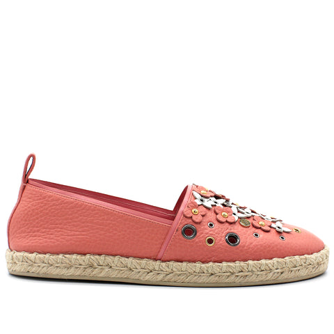 Calfskin Tropical Bloom Espadrille Flat