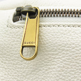 Print leather belt bag White