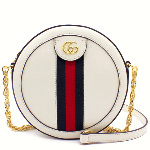 Ophidia mini round shoulder bag White
