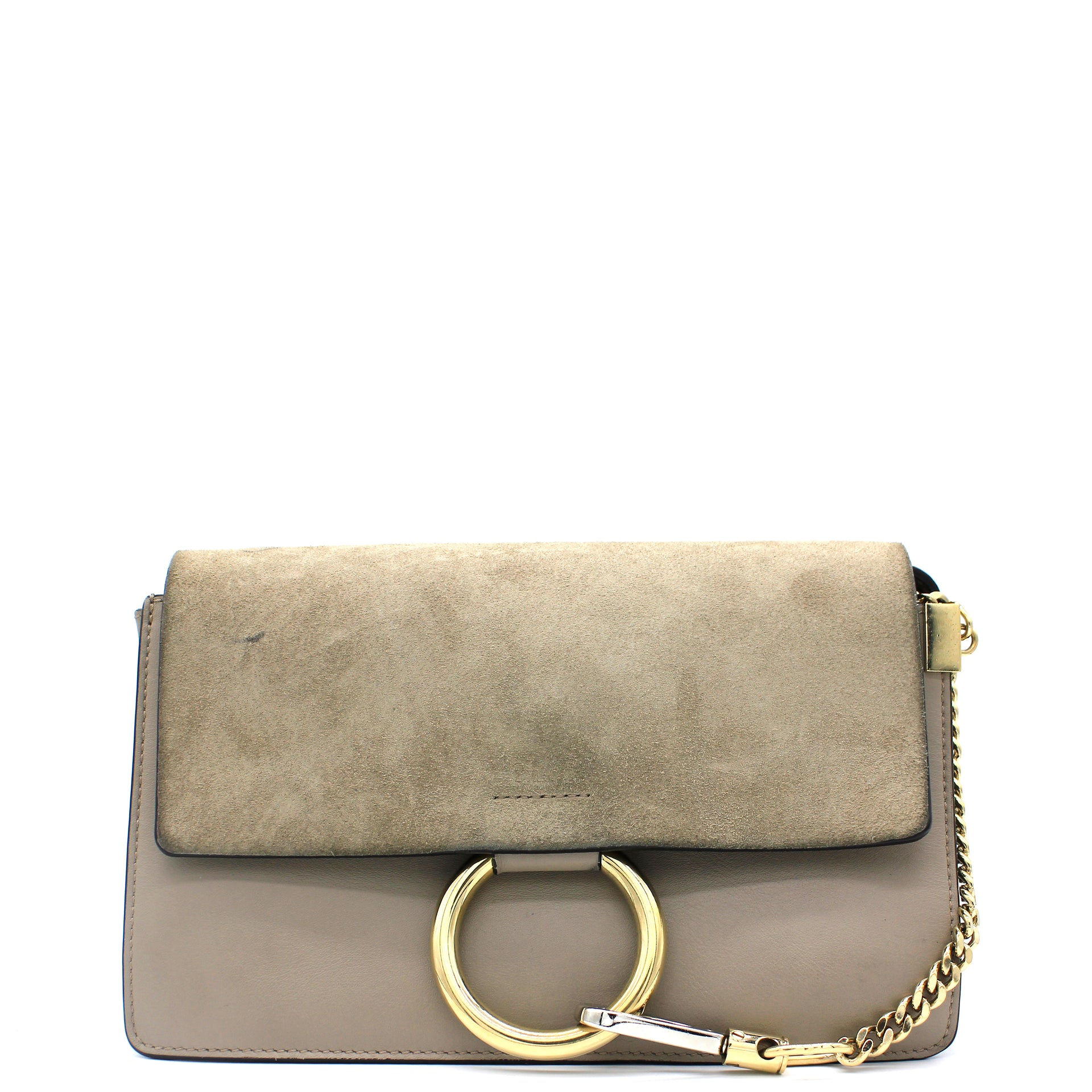 Suede Calfskin Small Faye Shoulder Bag Motty Grey