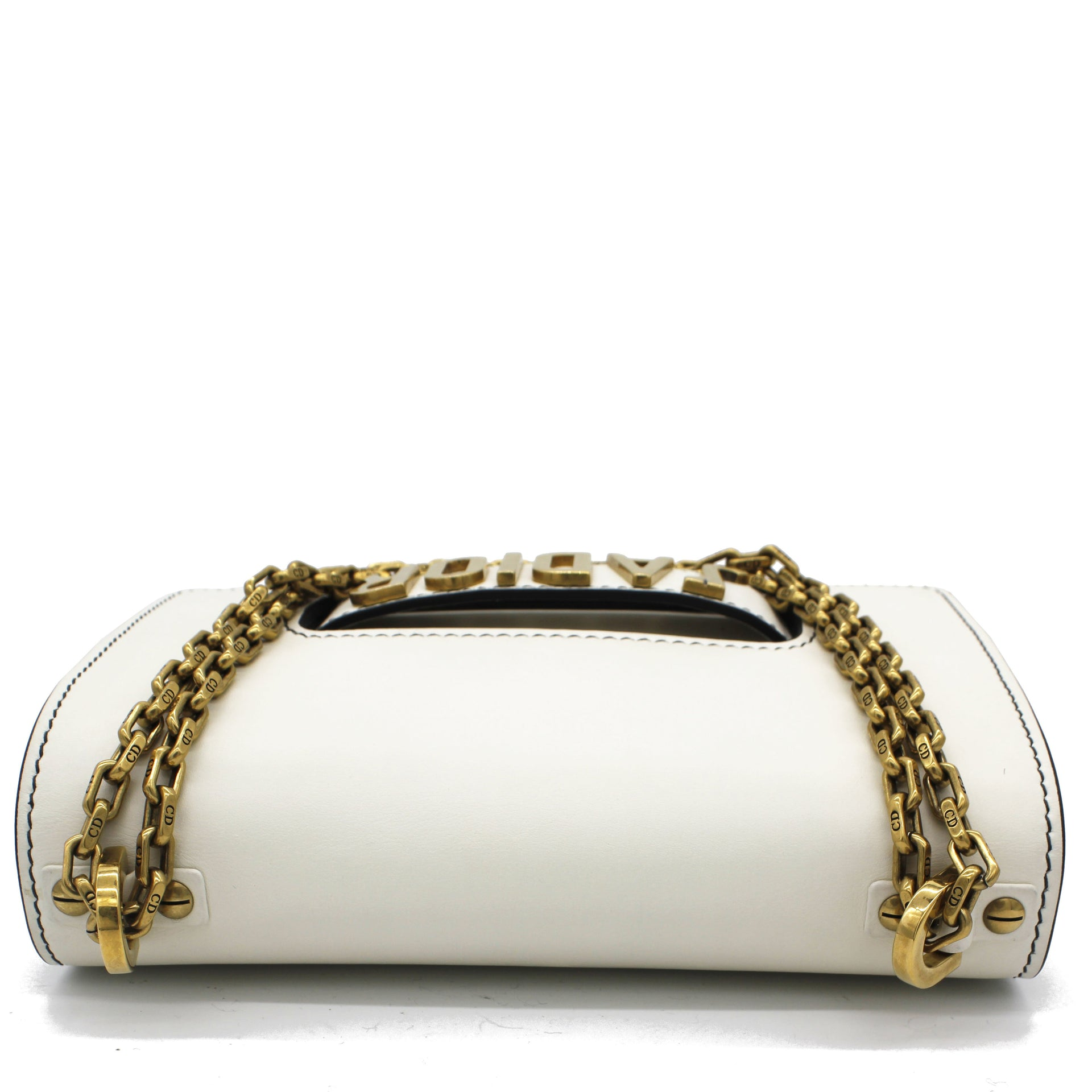 Calfskin J'Adior Chain Flap Bag White