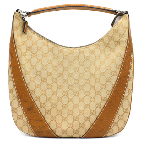 Small GG Canvas Hobo Brown