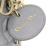 Mini Lady Dior Bag with Chain in Grey Pearly Lambskin
