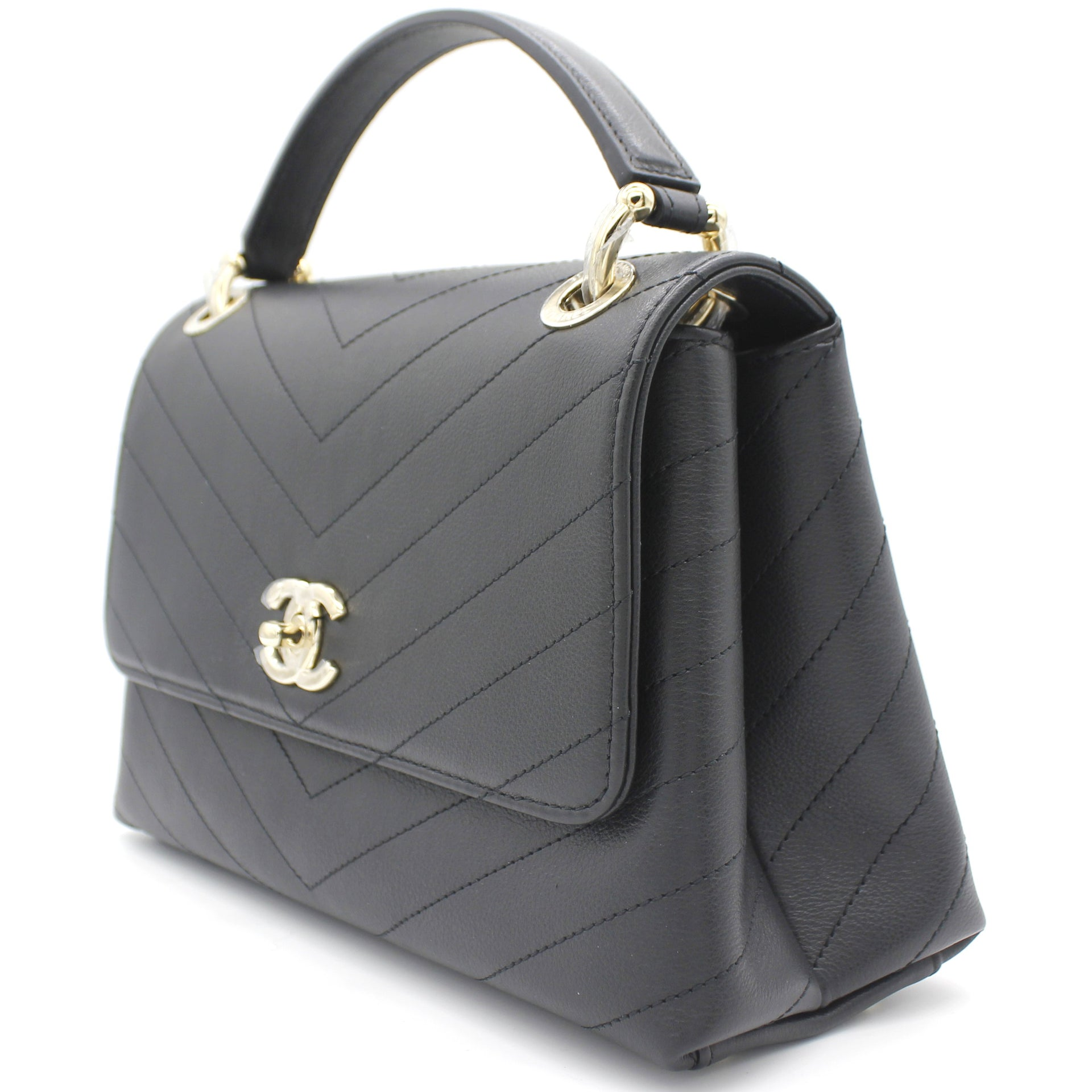 Chevron Calfskin Flap Top Handle Bag