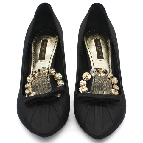 Black Satin Jeweled Bow Pumps