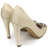 Beige Satin Jeweled Pumps