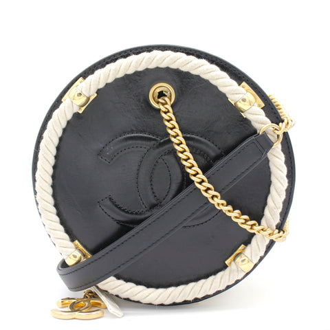 Crumpled Calfskin Cotton CC Small Round Bag Black