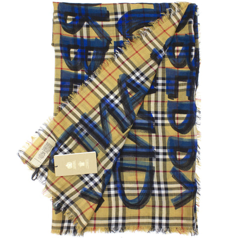 Graffiti Print Check Wool Silk Large Square Scarf