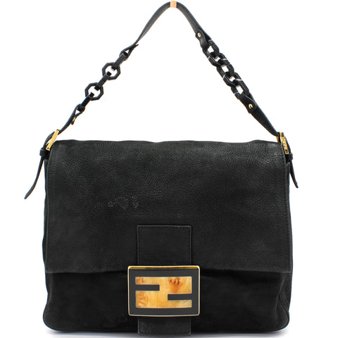 Black Iridescent Leather Mama Forever Large Flap Shoulder Bag