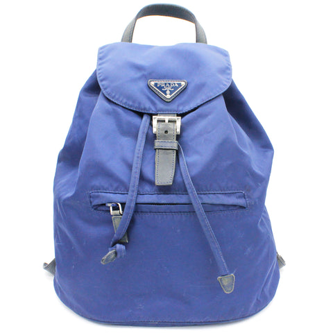 Drawstring Blue Nylon Backpack
