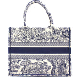 Blue Toile de Jouy Embroidery Booktote Small