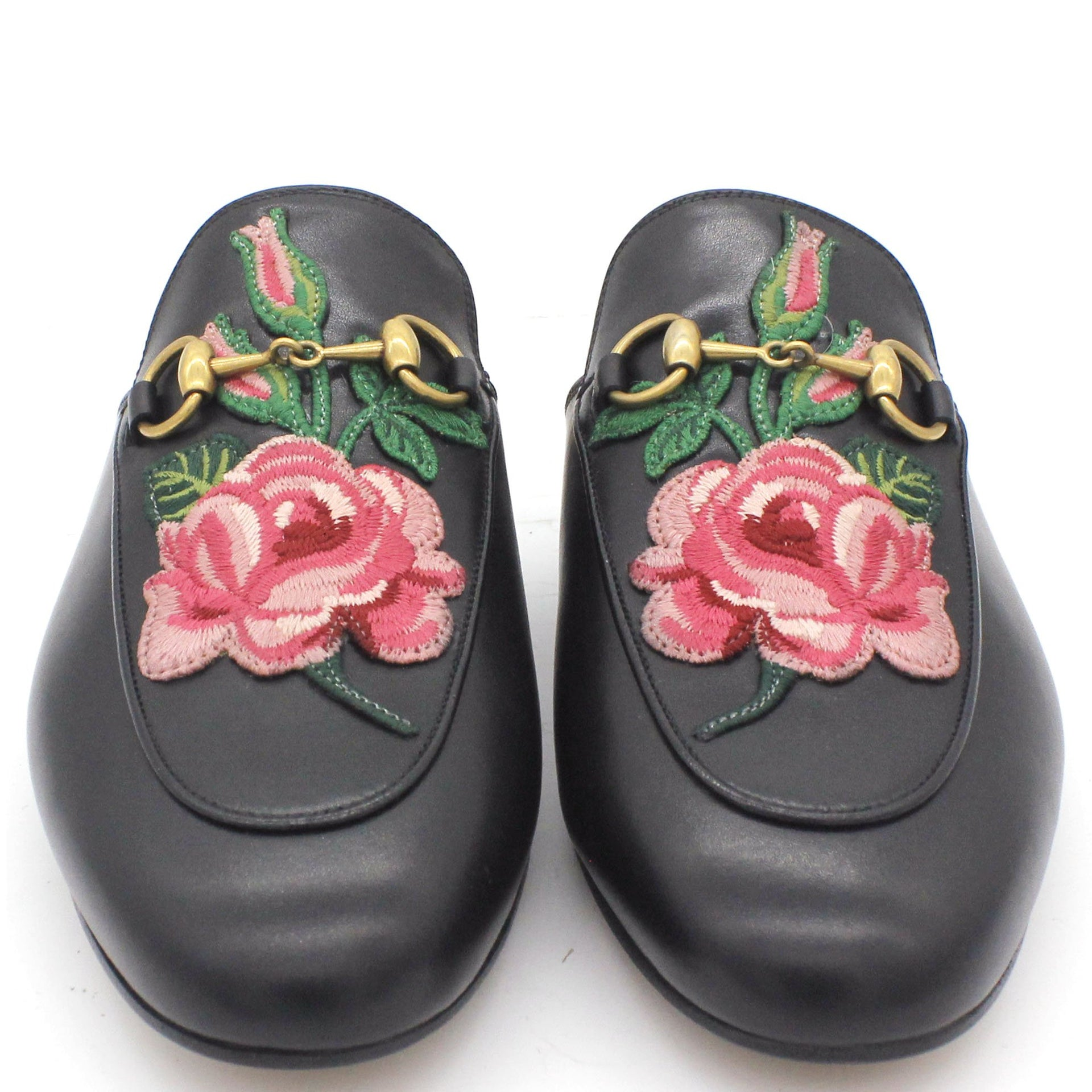 Princetown appliquéd leather slippers