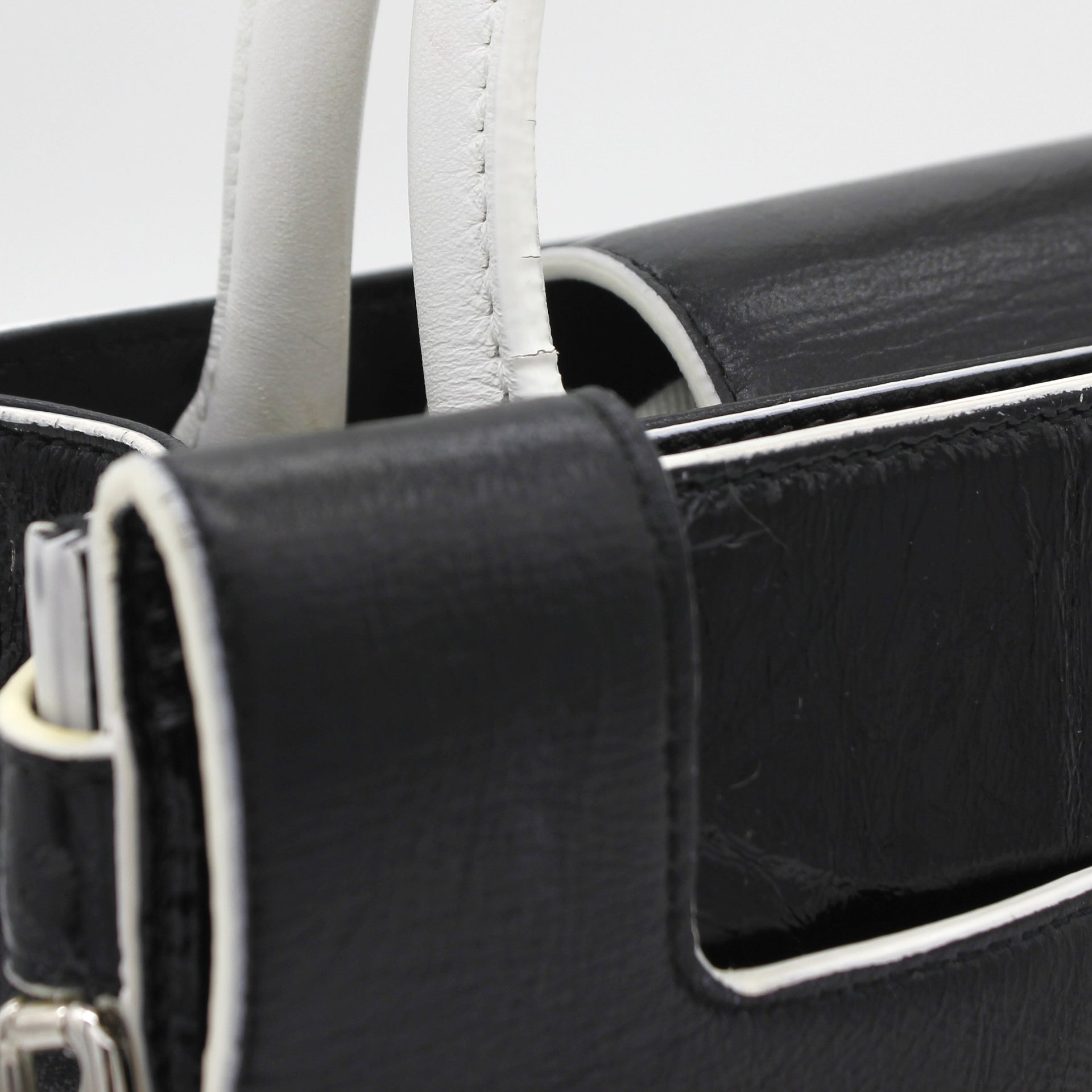 Calfskin Mini Diorever Flap Black and White