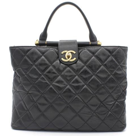Quilted Calfskin Handle Shopping Tote Black